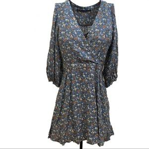 ZARA TRF COLLECTION Floral Long Sleeve Dress SZ M